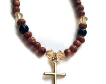 Brown Goldstone Anklet, Swarovski Adjustable Anklet, Swarovski Golden Shadow, Christian Anklet, Summer Jewelry