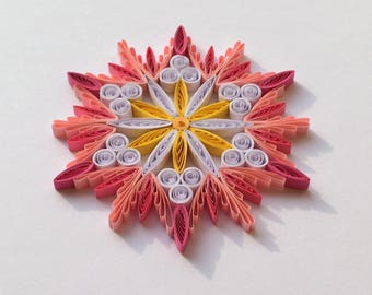 Quilled Snowflakes Paper Quilling Art Christmas Tree Decor Winter Hanging Ornaments Gifts Toppers Mandala Office Corporate Pink White Yellow