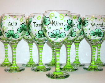Bridesmaid Gift - Shamrocks or Four Leaf Clover Hand Painted Wine Glasses Names - Happy St. Patrick's Day Set of 10 - 20 oz. Bachelorette