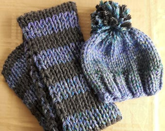 Hand Knit Hat & Scarf Set
