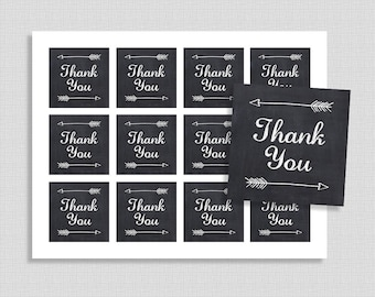Chalkboard Thank You Favor Tags, Chalkboard Arrow Shower Party Favor Tags, Neutral, INSTANT PRINTABLE