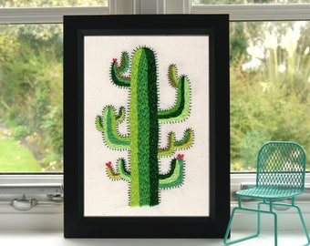 Cactus and Hearts Print // Hand Embroidery // A4 Print // Illustration // Wall Art