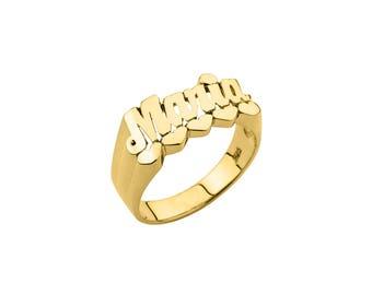 Half Round Name Ring (8mm) - Name Ring Custom Name Ring Baby Name Ring Pinky Ring Personalized Name Ring Handmade USA - 925 Sterling Silver