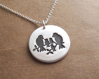 Bird Family Necklace, Mom, Dad, Three Babies, Two Moms, Two Dads, New Family Necklace, Fine Silver, Sterling Silver Chain, Made To Order