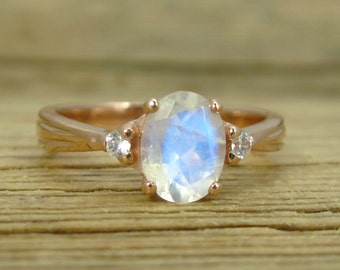 Moonstone Antique Engagement Ring, 18K Oval Moonstone Rose Gold Ring, Antique Style Ring, Engagement Ring, Antique Ring, Rose Gold Vintage
