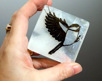 Fused Glass Chickadee Ornament
