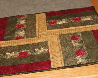 Beige Green Red Square  19 1/2 X 19 1/2  Table Runner Topper