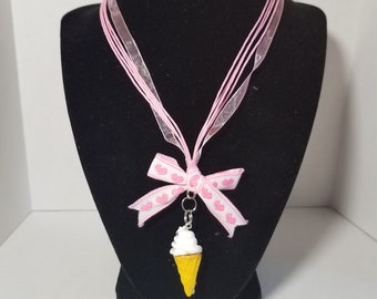 Ice Cream, Pink, Ribbon, Bow, one of a kind, OOAK, kawaii, necklace