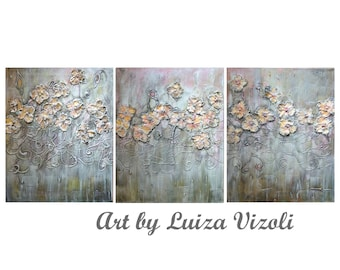 Rose Gold Flowers Abstract Textured Metallic Painting White Gray Pink Shabby Chic Artwork Triptych Format Artwork