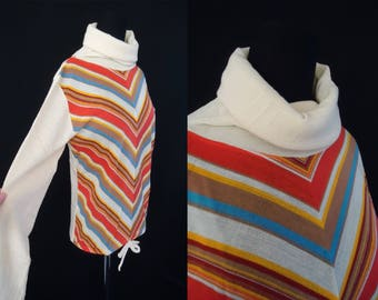 Turtleneck CHEVRON Striped Vintage 1970's NOS Women's Cowl Neck BOHO Shirt S M
