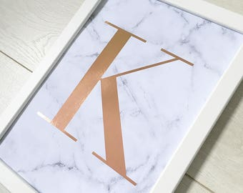 Monogram initial print A4 metallic foil marble print decor best seller
