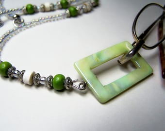Lanyard for Glasses, One Of A kind, Lime Accent Beads, Eyeglass Holder, Eyeglass Necklace, CLEARANCE
