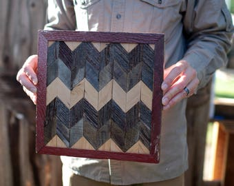 Barn Wood Quilt Chevron Pattern Square Sign Wall Art 12.5x12.5 Inches FREE SHIPPING
