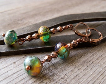 Long Dangle Earrings - Copper Earrings - Boho Bead Jewelry - Dangle Earrings - Boho Earrings - Titanium Earrings - Hypoallergenic Jewelry