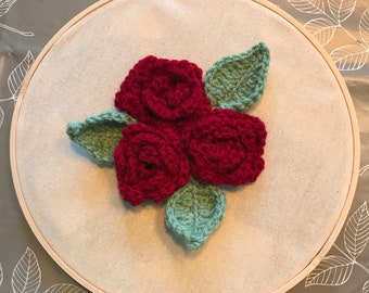 Crocheted Rose Embroidery Hoop
