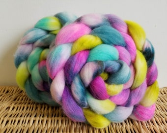"Roving Braid, Polwarth Handpaint Top, ""Spring Has Sprung"" 4 oz. Braid, Hand Dyed, Pink, Aqua, Green"