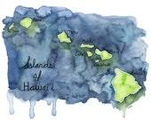 Watercolor Hawaiian Islan...