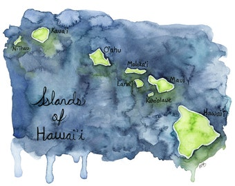 View e a r t h by thecolorfulcatstudio on etsy watercolor hawaiian islands print painting titled islands of hawaii hawaii gumiabroncs Image collections