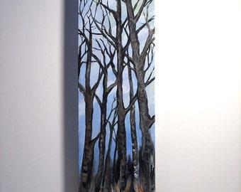tree painting, Winter Trees, original acrylic painting on canvas, home decor, wall art, acrylic painting