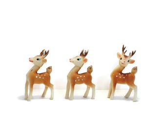 "SALE 4.5"" Rubber Fawn Buck Deer Reindeer KITCH Plastic Swivel Moveable Head Japan"