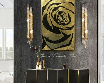 Large Rose Gold Painting Abstract Painting Textured Painting Modern Art Wall Decor Gold Leaf  Painting On Canvas by Julia Kotenko