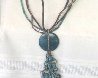 Vintage Dangling Pendant Necklace   035