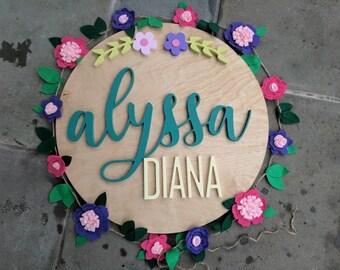 Nom personnalisé bois signe - cercle nom signe - nom de cercle de bois - chambre de bébé nom signe - décoration enfants - nom Cursive