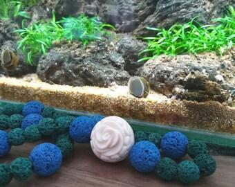 Rosa del Mediterraneo-lava stone and resin Necklace