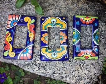 Set of Three Talavera Pottery Light Switch Plate Covers, Single Toggle Switch Plates, Southwestern Decor, Mexican Decor, Light Plate Covers