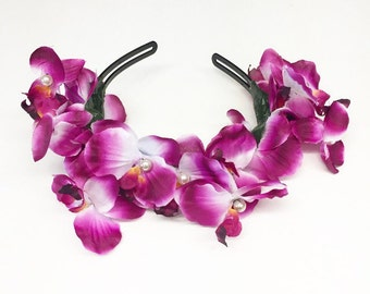 Dead Stock Sale! Deep Magenta Orchid Flower Crown Headband