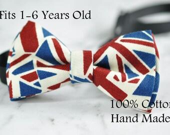 Boy Kids Baby UK United Kingdom BRITISH Flag Cotton Bow Tie Bowtie 1-6 Years Old