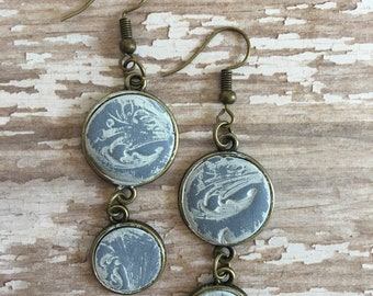 Hand Made Clay Washed in White Faux Stone Set in Antiqued Brass By Brooke Baker