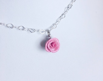 Pink Sparkle Rose necklace - Polymer clay charms - Miniature flower jewelry - kawaii necklace