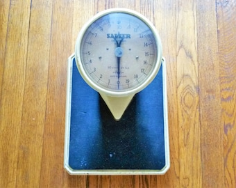 Vintage Salter Bathroom Scales 1950s, Medical Scales, Cast Iron Weighing Scales, Photo Film Prop, Cream and Black, Stand On Scale