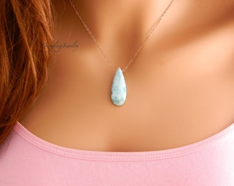 Rose gold blue larimar necklace, Healing Necklace, crystal necklace, Larimar gemstone necklace, Layering necklace, Mother Day Gift, for Mom