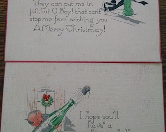 set of 2 Vintage Christmas postcards