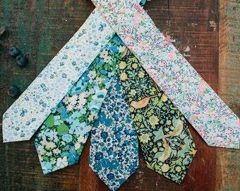 Blue Liberty of London Necktie, custom blue tie, wedding tie, blue floral tie, blue skinny tie, floral print tie, men's necktie, navy blue