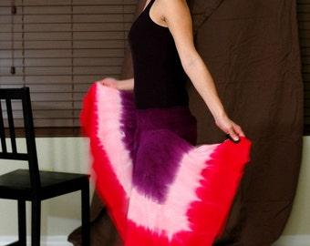 Purple and Pink Tie Dye Hobo Hankie Hem Skirt