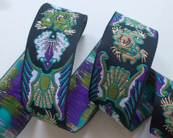 "Woven Jacquard Trim | Jacquard Ribbon | 1-1/4"" Purple~Green~Black 