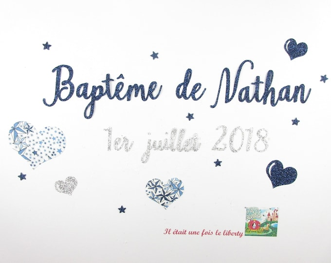 Applied fusing baptism with customization name of child and date in glitter fabric (colors)