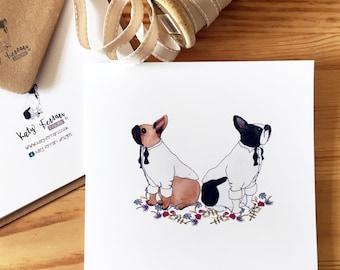 French bulldog blank greetings card, Frenchie birthday card, anniversary card
