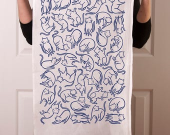 Flour sack tea towel with Floating Cats screen print in navy