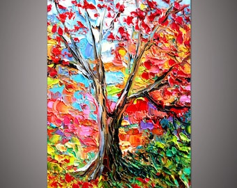 Hand-painted modern home decoration wall art picture Autumn colorful tree landscape thick palette knife oil painting on canvas art By Lisa