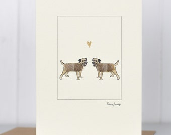 Border Terriers in Love Card, fluffy dogs greeting card, Valentine's Day, Wedding card