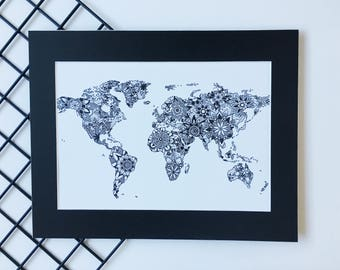 World Map Wall Art, World Map Print, Wanderlust Art, Travel Decor, Mandala Wall Art, Map of the World, Office Decor, Affiche Scandinave