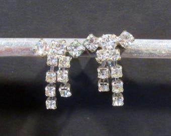 Vintage Rhinestone Screw On Earrings - Bow tie