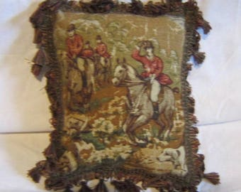FOXHUNTING Brown/Olive Green Tones Small Horse Pillow Quality Tapestry Fabric w/Green/Burg Tassel Trim