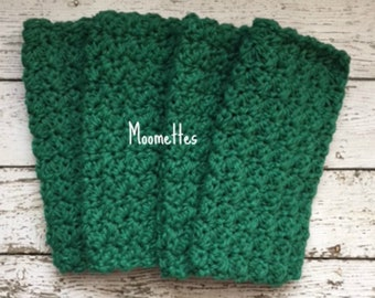Crochet Handmade Dish Cloths Dark Green Wash Cloth Crochet Dishcloth Eco Friendly Cotton Dishcloths Set of 4