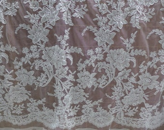 Exquisite Wedding Gown Alencon Lace Fabric in Off white for Bridal Dress, Lace Top, Wedding Jacket, Garments