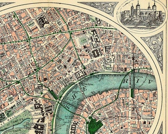 "Antique London Map ""Travel Victorian London"" Antique British Vintage Reproduction Map Engraved - Green Grey Blue London England Thames"